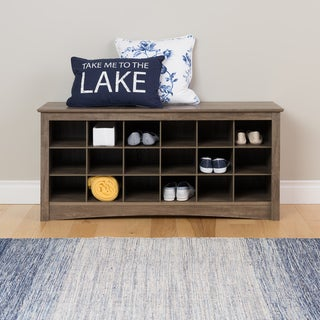 The Gray Barn Waggoner Drifted Grey Cubbie Storage Bench