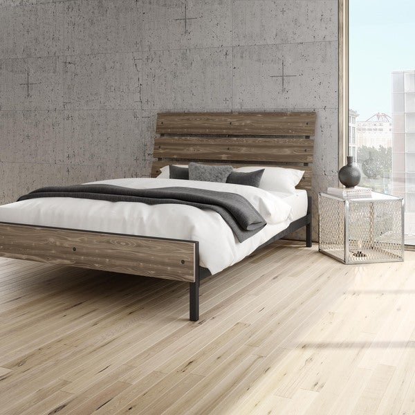 Amisco Riverton Queen Size Metal Bed with Wood