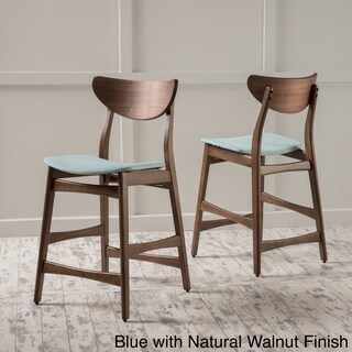 Carson Carrington Lund Wood 24-inch Counter Stool (Set of 2) (Option: Blue with Natural Walnut Finish)