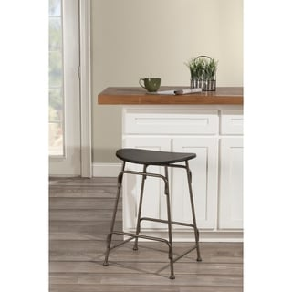 Carbon Loft Rutherford Black Wood and Old Bronze Metal Stationary Backless Counter Stool
