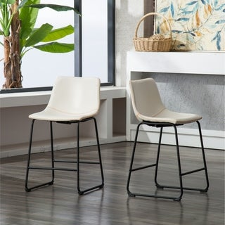 Carbon Loft Inyo Vintage PU Leather Counter Height Stools (Set of 2)