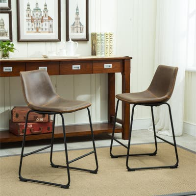 Carbon Loft Inyo Vintage PU Leather Counter-height Stools (Set of 2)