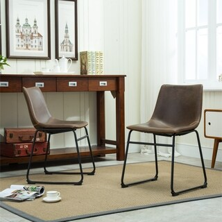 Carbon Loft Inyo Antique Brown PU Leather Dining Chairs (Set of 2)