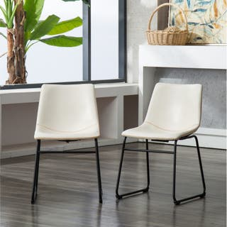 Carbon Loft Inyo Antique Brown Pu Leather Dining Chairs Set Of 2