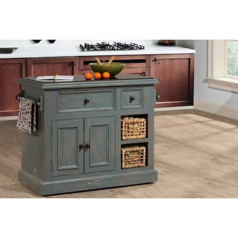 """The Curated Nomad Descanso Nordic Blue Kitchen Island with Baskets - 41""""W x 23""""L x 34""""H"""