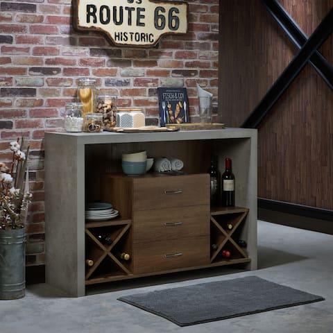 Furniture of America Mystal Industrial Concrete-like Buffet