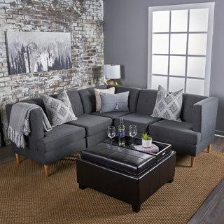 Carson Carrington Larvik Mid-century Modern 5-piece Fabric Sectional Sofa Set