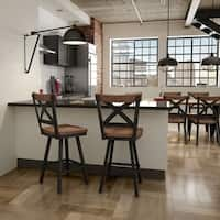 Carbon Loft Prescoft Swivel Metal Stool with Wood Seat