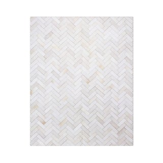 Strick & Bolton Manet Hand-stitched Chevron Cow Hide Leather White Rug - 9' x 12'