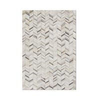 Carbon Loft Montgolfier Hand-stitched Chevron Cow Hide Leather Grey Rug - 9' x 12'
