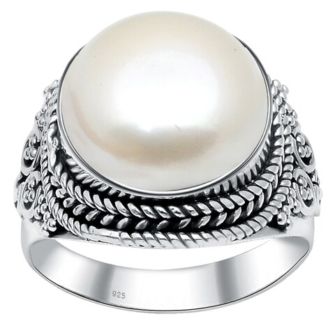 925 Sterling Silver Handmade Oxidized 8 Carat Cultured Pearl Birthstone Ring