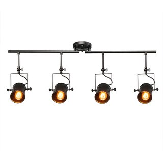 LNC Black Split Rail 4 Spotlight Track Lighting