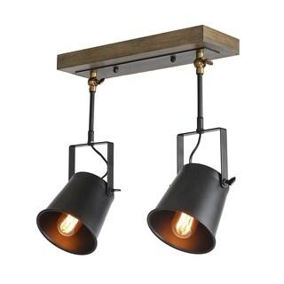 LNC Wood Close to Ceiling Track Lighting Spotlights 2-Light Track Lights