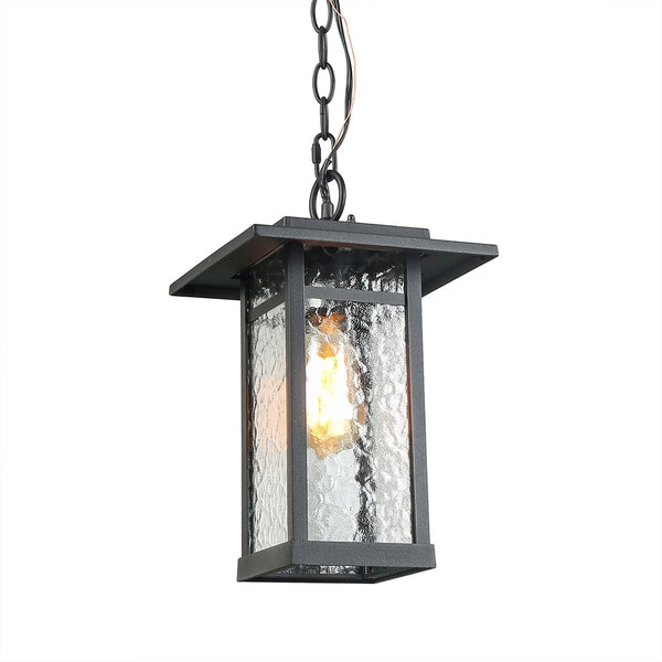 LNC 1-Light Transitional Pendant Lights Black Outdoor Hanging Lights