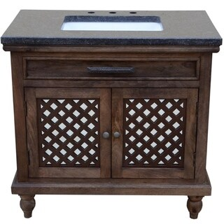 36 inch wide Mango Vanity with mirrored door in brown finish
