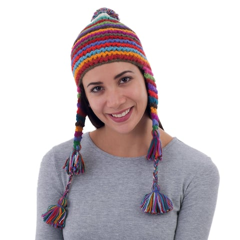 Handmade Alpaca 'Tactile Rainbow' Hat (Peru)