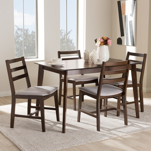 Modern Retro 5 Piece Dinette Set With Faux Leather Black: Shop Contemporary 5-Piece Dining Set By Baxton Studio