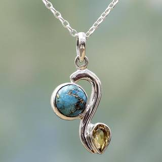 Handmade Sterling Silver 'Sparkling Planet' Citrine Turquoise Necklace (India)