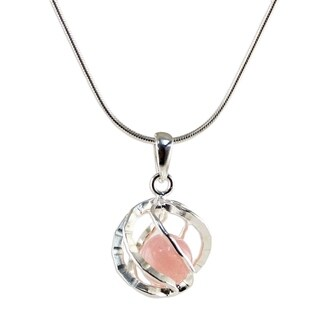Handmade Sterling Silver 'Pink Orb of Energy' Rose Quartz Necklace (Thailand)
