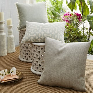 Patina Vie Coastal Fretwork Sunbrella Pillow Assorted Set of 3 in Spa Green