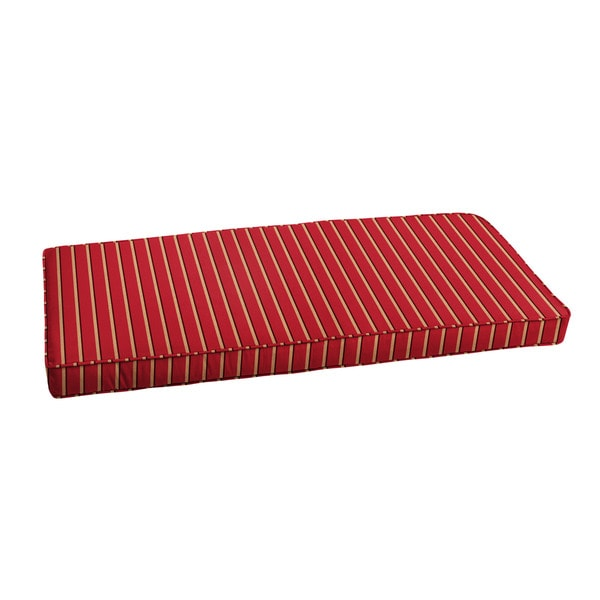 Shop Sunbrella Red Gold Stripe Indoor Outdoor Bench Cushion 37 To