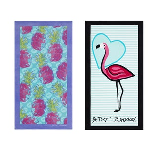 Betsey Johnson 2-Piece Beach Towel Set (Option: All Over Pineapple / Solo Flamingo)