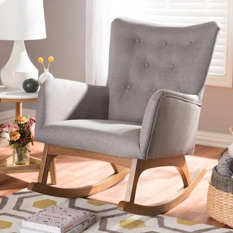 Mid-century Fabric Rocking Chair by Baxton Studio
