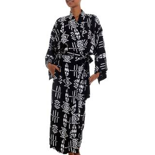 Handmade Rayon 'Eastern Tranquility' Robe (Indonesia)