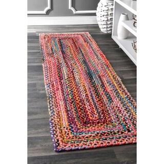 "nuLOOM Casual Handmade Braided Cotton Multi Runner Rug (2'6'' x 12') - 2'6"" x 12'"