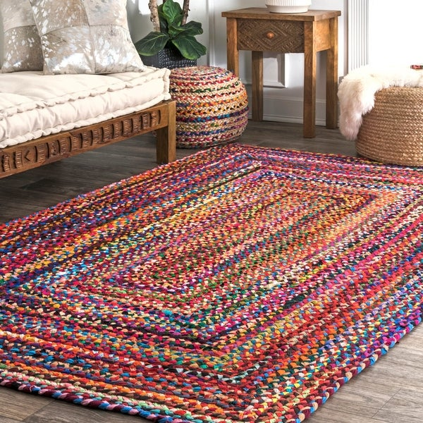 nuLOOM Casual Handmade Braided Cotton Multi Square Area Rug (8' Square)