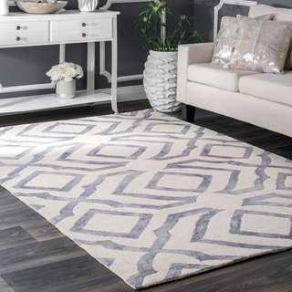 Strick & Bolton Nat Contemporary Handmade Abstract Wool Light Grey Area Rug - 3' x 5'