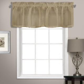 Summit 56in x 14in Sheer Voile Straight Valance Topper Mushroom