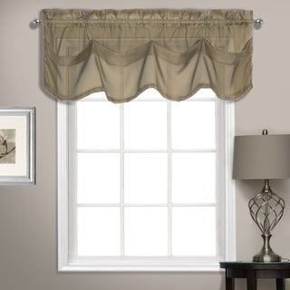 Summit 56in x 14in Sheer Voile Tuck Valance With Beautiful Shaped Pleats Mushroom