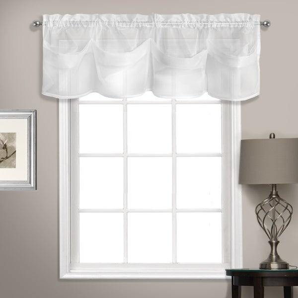 good Voile Valance Part - 6: Summit 56in x 14in Sheer Voile Tuck Valance With Beautiful Shaped Pleats  White
