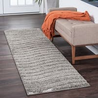 Alise Rugs Waverly Shag Contemporary Stripe Runner Rug - 2'3 x 10'