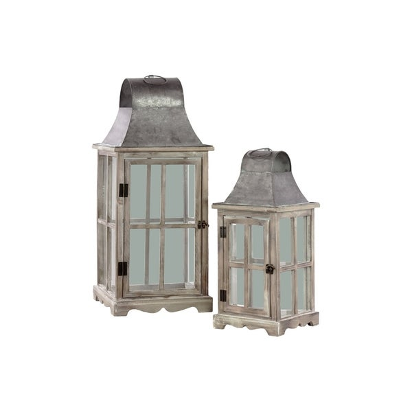 Urban Trends Wood Square Lantern with Metal Top, Ring Handle and Cross Design Body in Natural Wood Finish, Set of 2 - Brown