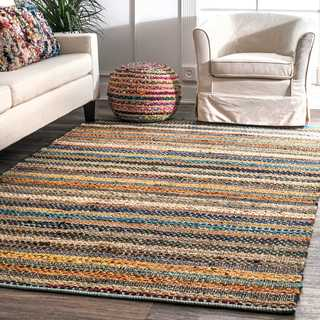 nuLOOM Multi Contemporary Tribal Weave Solid Stripes Area Rug