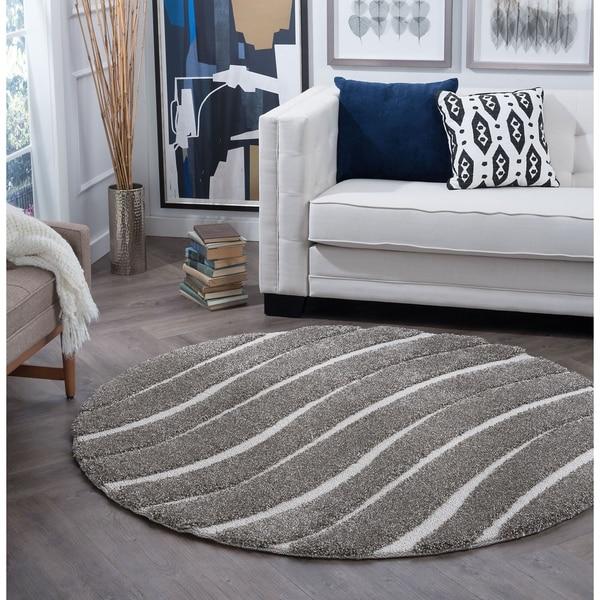 Alise Rugs Waverly Shag Contemporary Stripe Round Area Rug - 6'7 x 6'7