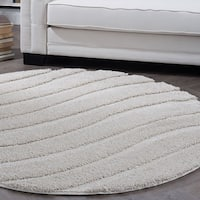 Alise Rugs Waverly Shag Contemporary Stripe Round Area Rug - 6'7 x 6'7