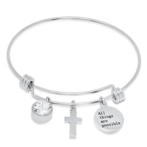 Piatella Ladies Stainless Steel Charm Bracelet with Swarovski Crystals
