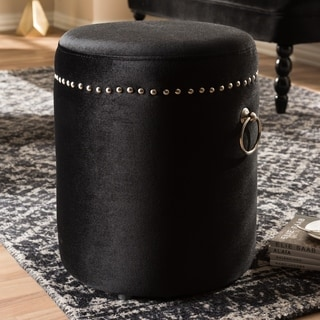 Contemporary Black Velvet Upholstered Ottoman by Baxton Studio