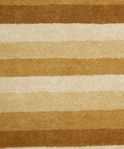 Hand-tufted Tan Stripe Wool Rug (8' x 10')