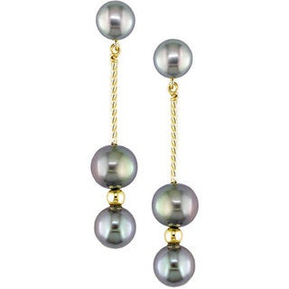 Miadora 14k Gold Black Cultured Freshwater Pearl Earrings