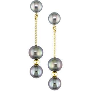 Miadora 14k Gold Black Cultured Freshwater Pearl Earrings