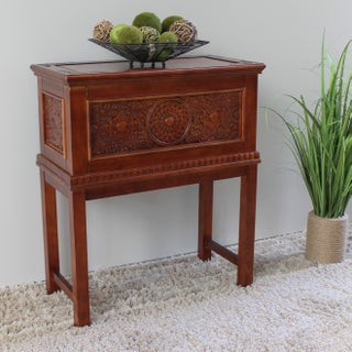 International Caravan Windsor Carved Storage Trunk with Stand (2 options available)
