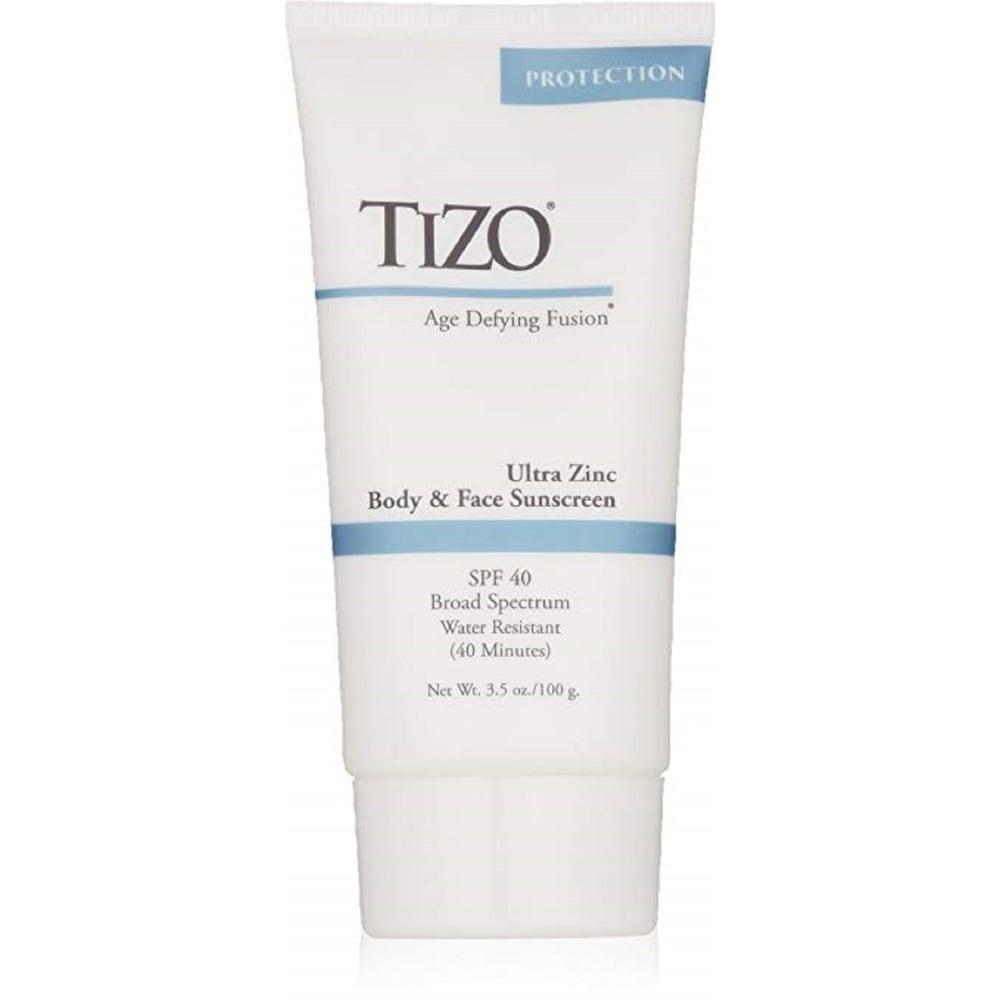 TiZO Zinc Body and Face Sunscreen SPF 40 Non-Tinted with Antioxidants C & E 3.5 Oz (Body Sunscreen)