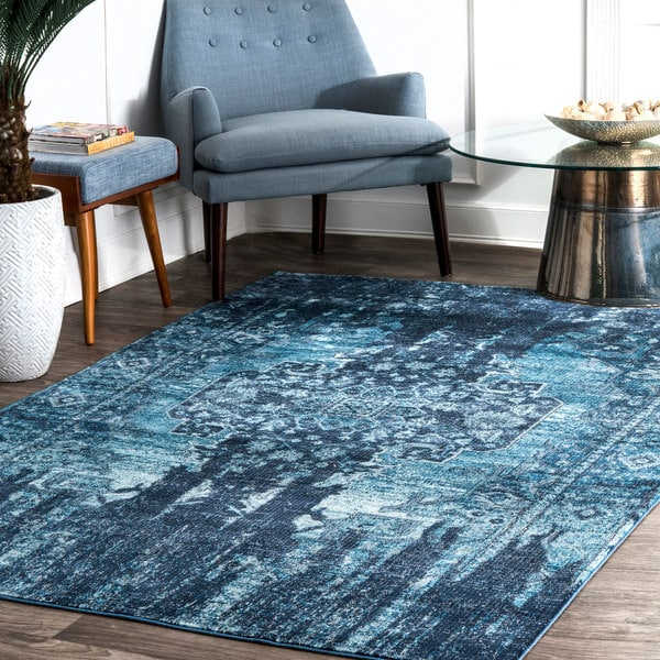 nuLOOM Blue Abstract Elegant Ombre Casual Area Rug
