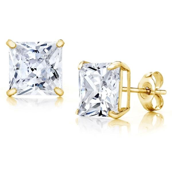 140419d2eb196a Pori Jewelers 14K Gold 6MM Princess-Cut Stud Earrings wCrystal by Swarovski