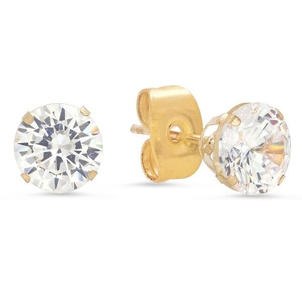 Pori Jewelers 14k Solid Gold Cz Stud Earrings