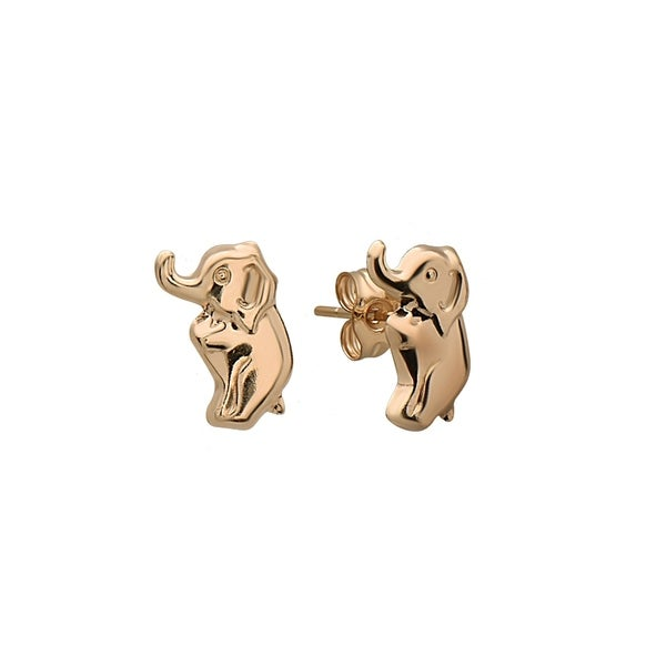 Pori Jewelers 14k Solid Gold Elephant High Polished Stud Earrings
